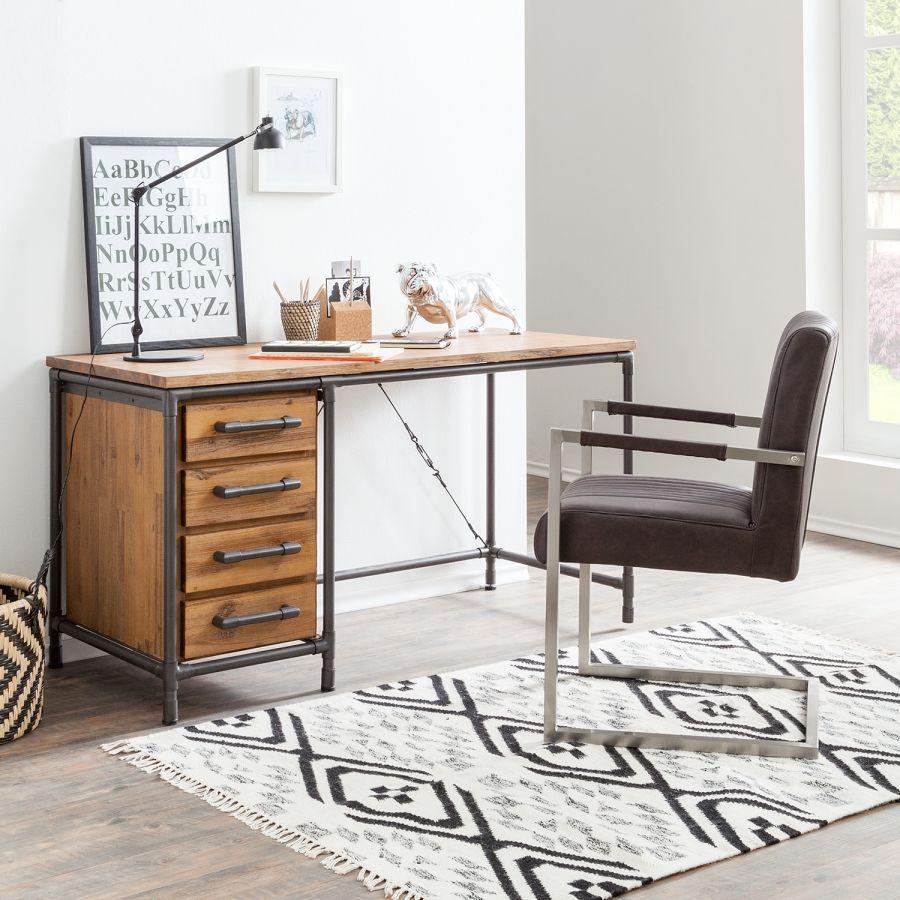 Schreibtisch Atelier Akazie Teilmassiv Metall Schreibtisch Modern Schreibtisch Kaufen Schreibtisch