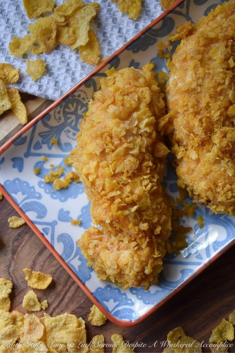 Crunchy Corn Flake Oven Baked Chicken Tenders Recipe In 2020 Oven Baked Chicken Tenders Baked Chicken Tenders Oven Baked Chicken