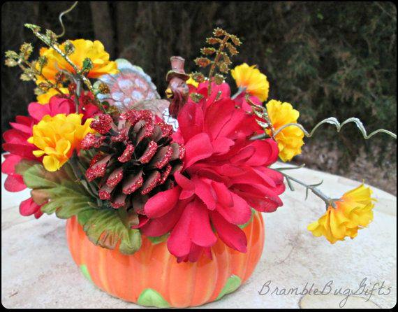 Thanksgiving Turkey Pumpkin Fall Autumn Flower Arrangement Centerpiece Home Decor by BrambleBugGifts