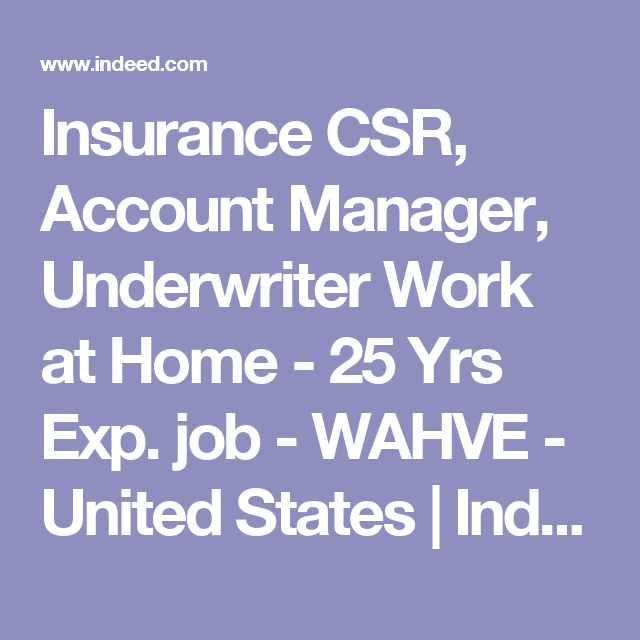 Insurance Csr Account Manager Underwriter Work At Home   Yrs