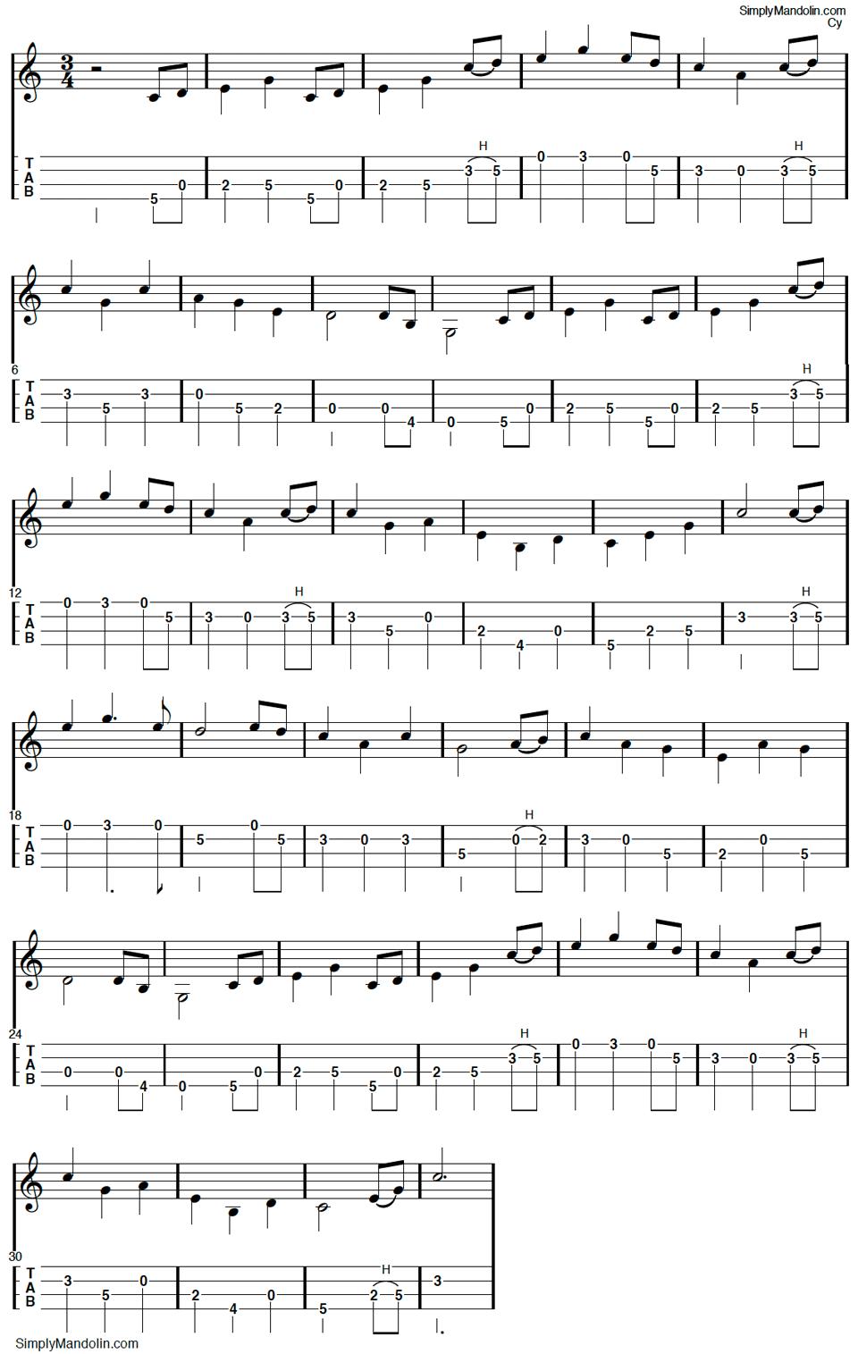 Mandolin Tab For Th Tennessee Waltz Mandolin In 2019 Mandolin
