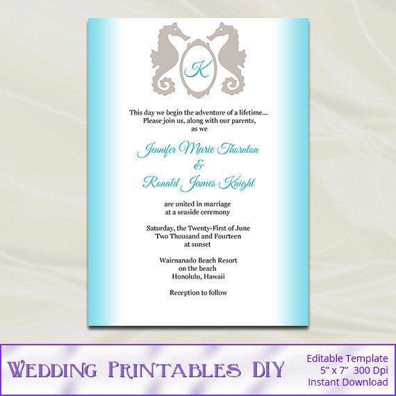 Seahorse Wedding Invitations Templates By Weddingprintablesdiy 8 00