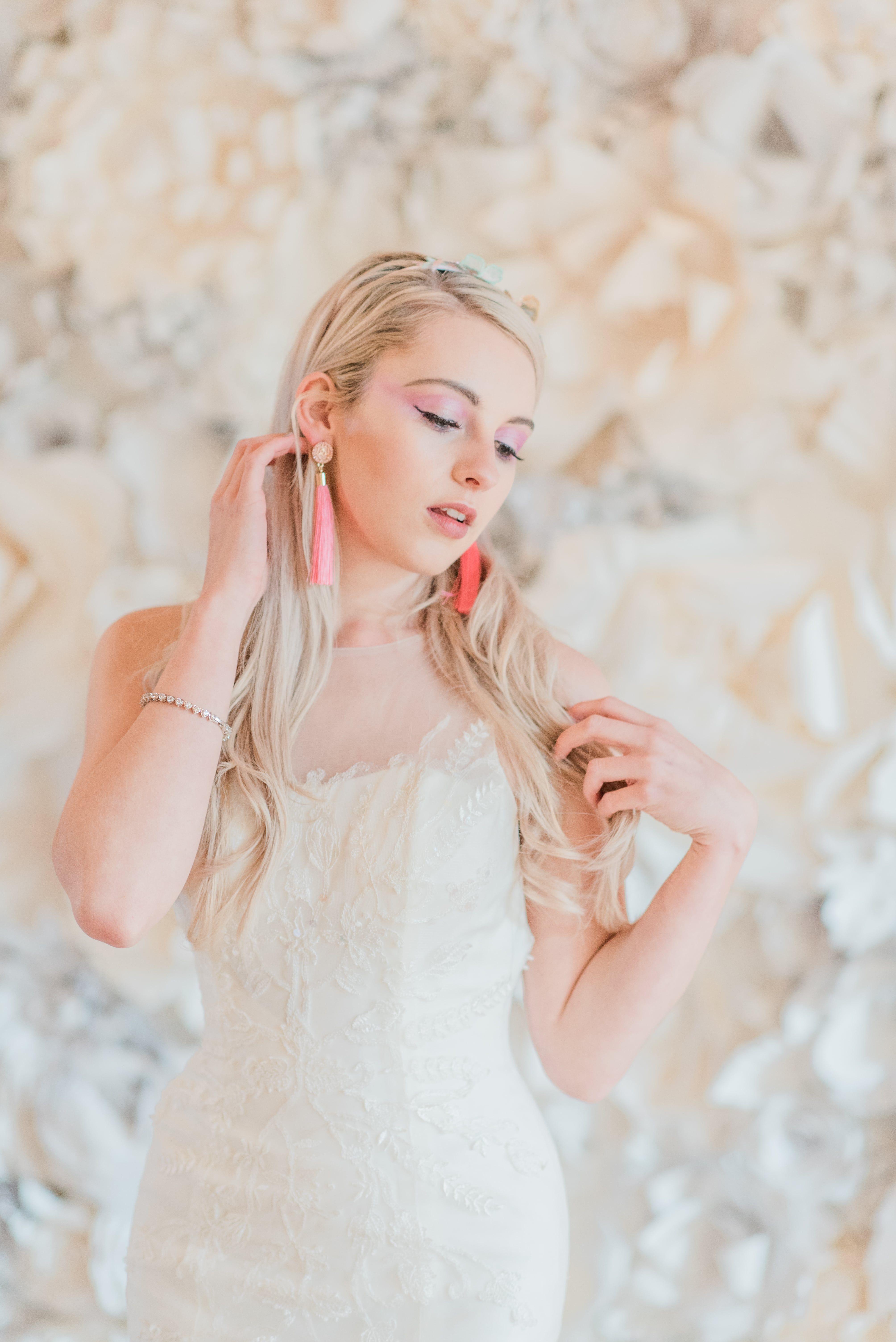Unicorn Inspired Wedding Shoot. Ivory Flower Wall. Unicorn