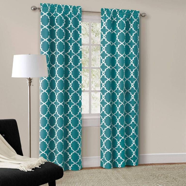 Turquoise Birdcage Curtains Geometric Curtains Teal Curtains
