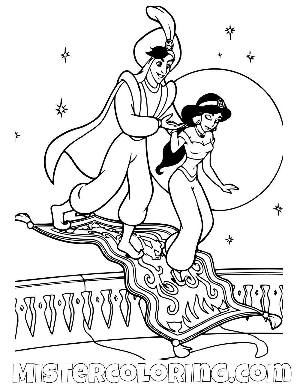 Aladdin Returning Princess Jasmine To Her Palace Aladdin Coloring