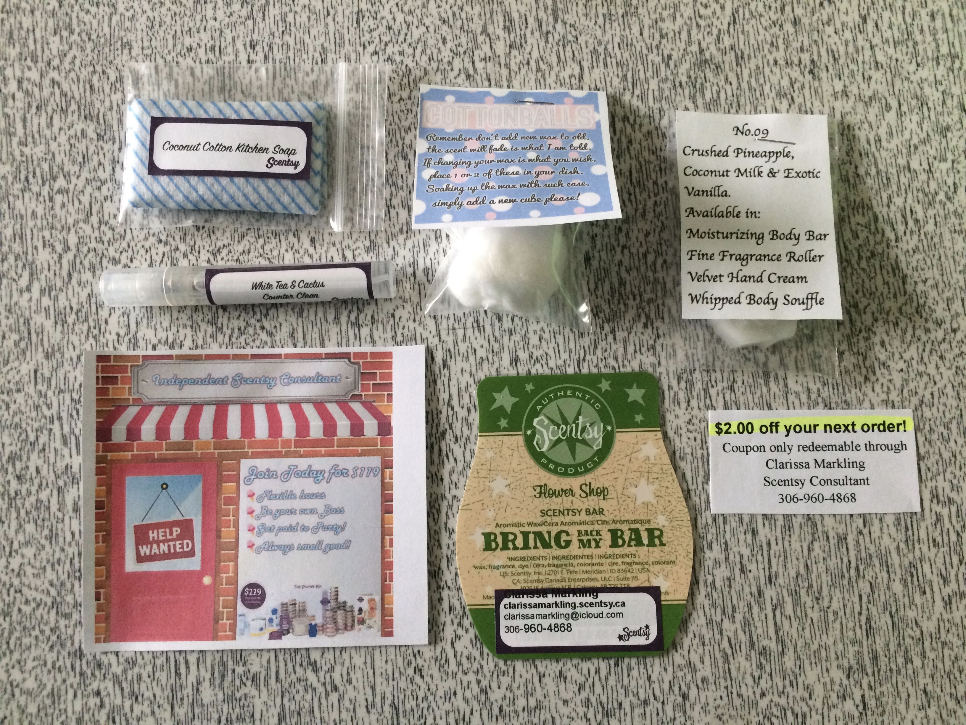 This is what I include in my Scentsy sample bags. A magnet ...