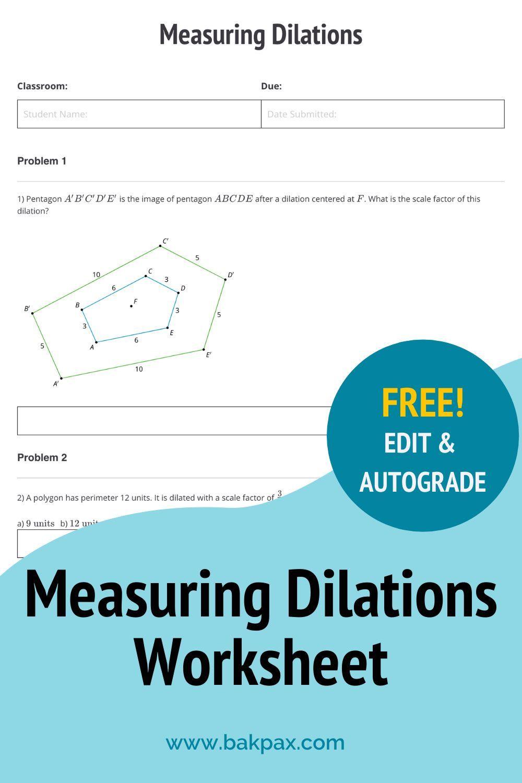 Free Measuring Dilations Geometry Worksheet Geometry Worksheets Math Lab Dilations