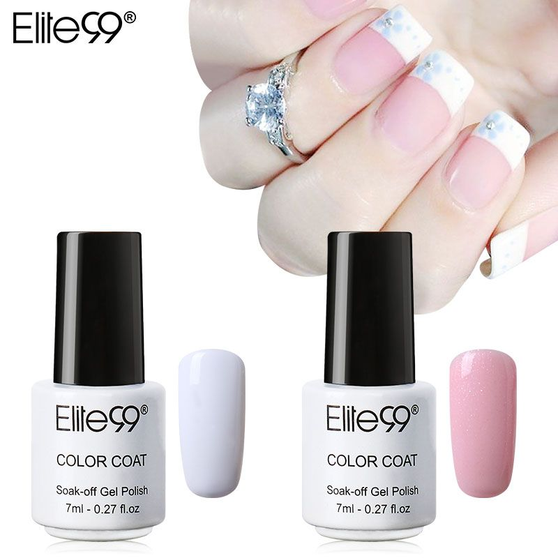 Elite99 Colored Avaliable UV Nail Gel Polish Set Pink White with Tip ...