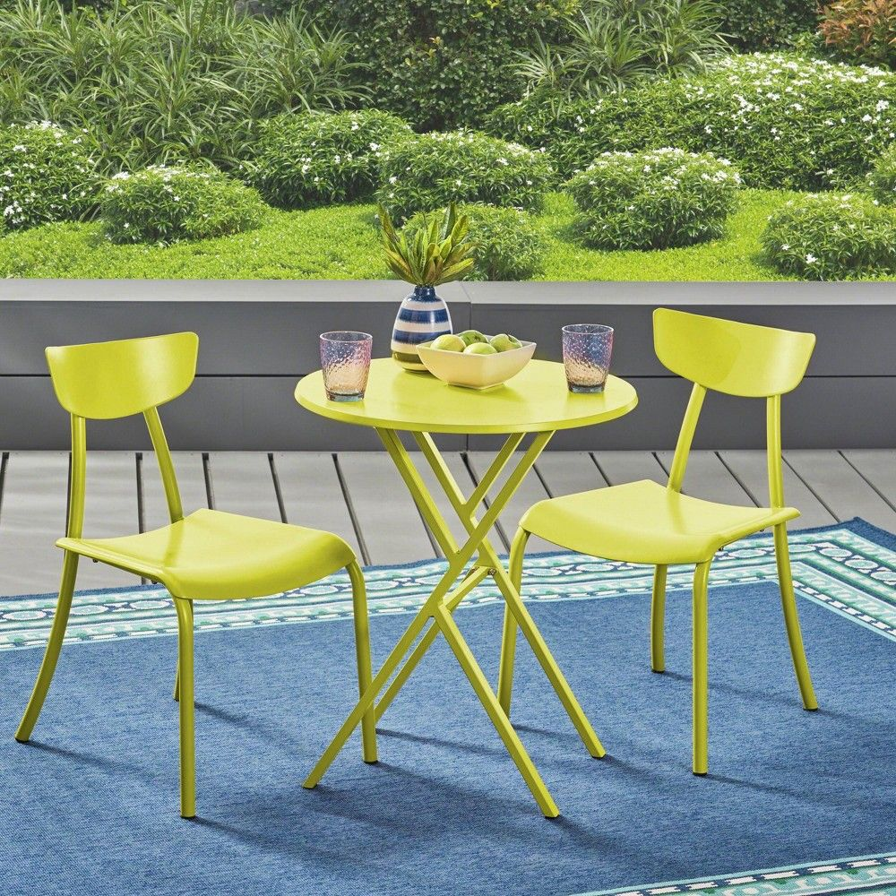 Taro 3pc Patio Bistro Set Matte Lime Green Christopher Knight Home Bistro Set Outdoor Bistro Set Patio Dining Set