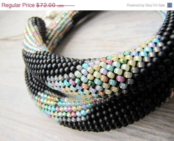 Bead crochet necklace rope black necklace by DolgovaSvetlana, $64.80