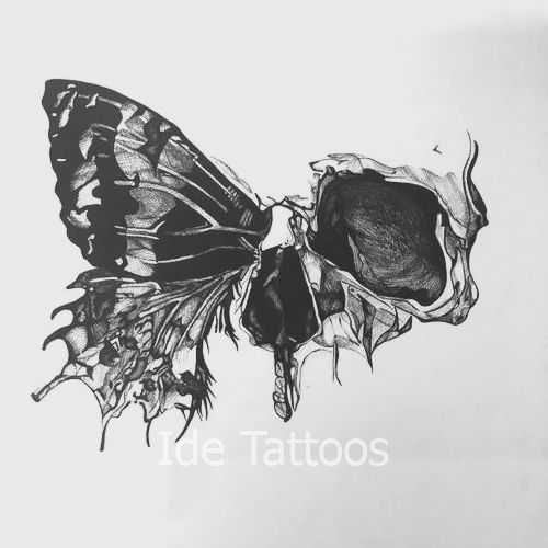 Photo of Half Skull Butterfly Tattoo Design