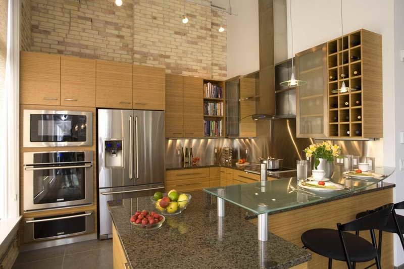 Los Angeles Brick Walls Modern Kitchen Cabinets With