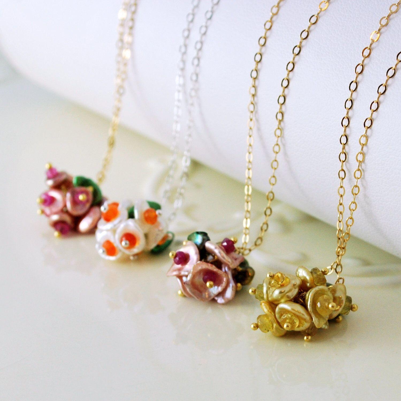 Bridesmaid necklace set keishi freshwater pearl flower