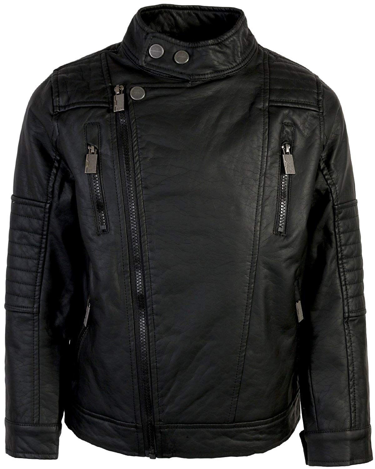 Mens Faux Leather Moto Jacket (Little Kids) Black