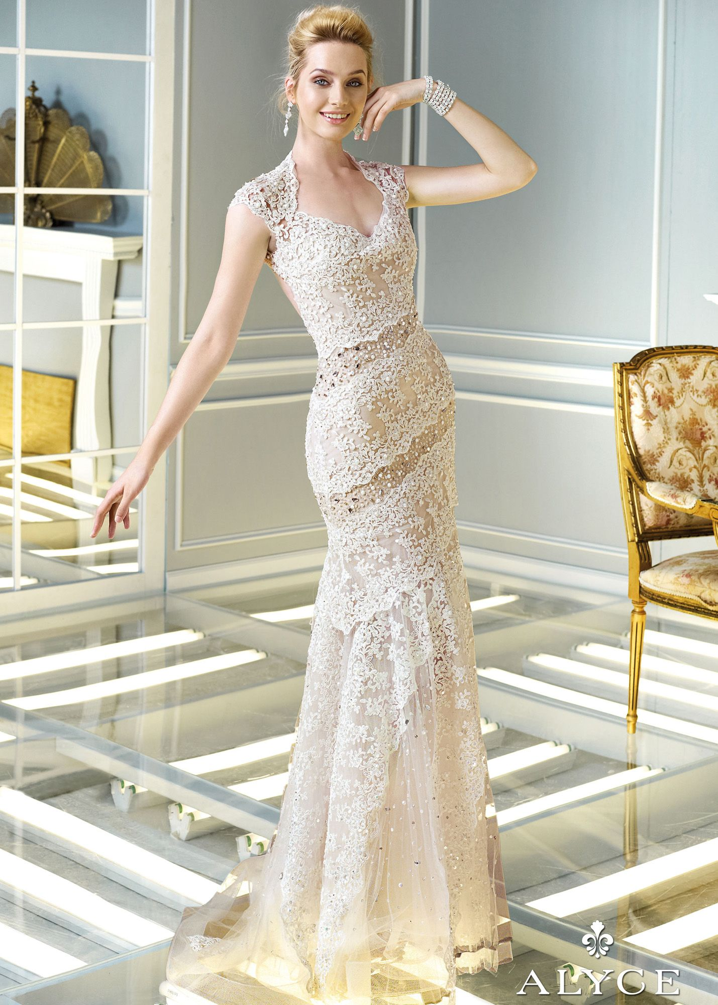 Claudine for alyce ivory beaded lace cap sleeve prom dresses