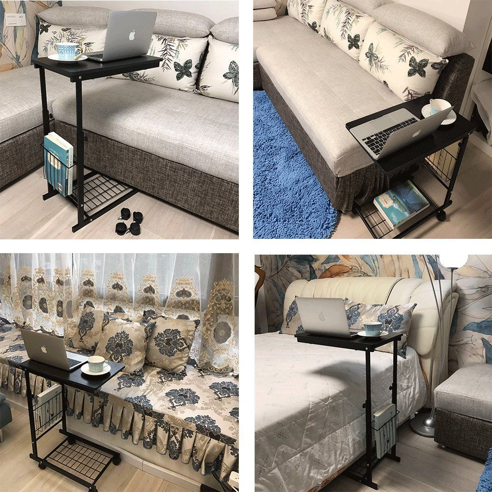 Micoe Height Adjustable With Wheels Sofa Side Table Slide Under Adjustable Console Table With Storage Black For E Sofa Side Table Living Room Decor House Rooms