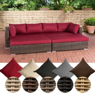 Poly-Rattan Lounge Sofa \/ Bett TERRASSA, 4er Sofa + 2 große Hocker - garten loungemobel anthrazit