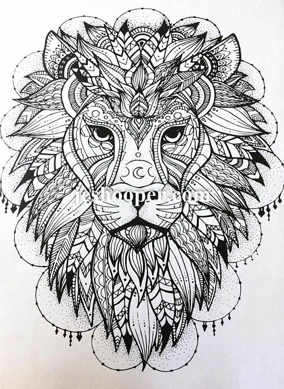 Adult colouring page, lion pattern coloring page instant digital ...