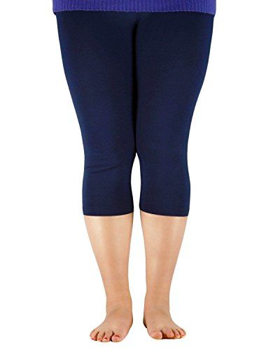 0489d8470b232 Zando Womens Lightweight Breathable Soft Stretchy Leggings 3/4 Length Plus  Size Crop Bamboo Fibre