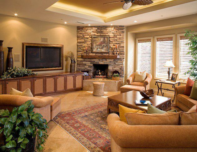 bright living room decorating with best furniture placement and organization corner fireplace design