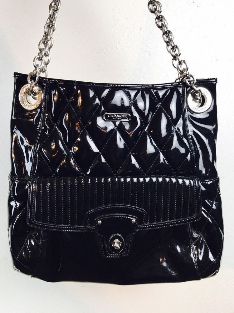 Coach poppy quilted black patent leather convertible bag chain large coach poppy quilted black patent leather convertible bag chain large pink lining ebay black patent mightylinksfo