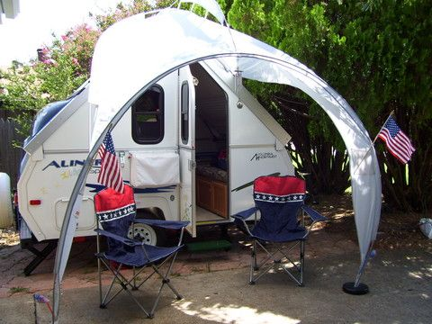 Quick Setup Rear Awning For Shaded Seating And Outside Kitchen Modified Coleman Awning From Fabric Sided Pop Up A Frame Camper Camper Awnings Aliner Campers