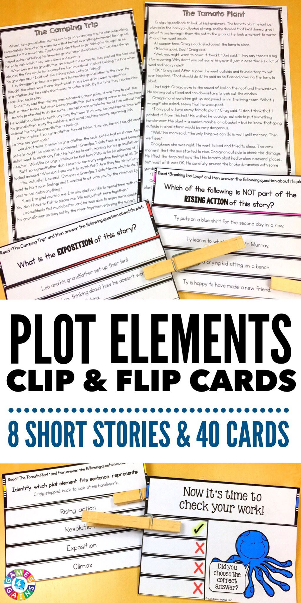Plot Activity 40 Plot Elements Task Cards With 8 Short Stories Clip And Flip