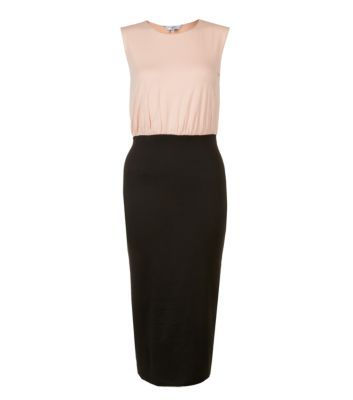 Shell Pink and Black 2-in-1 Midi Dress