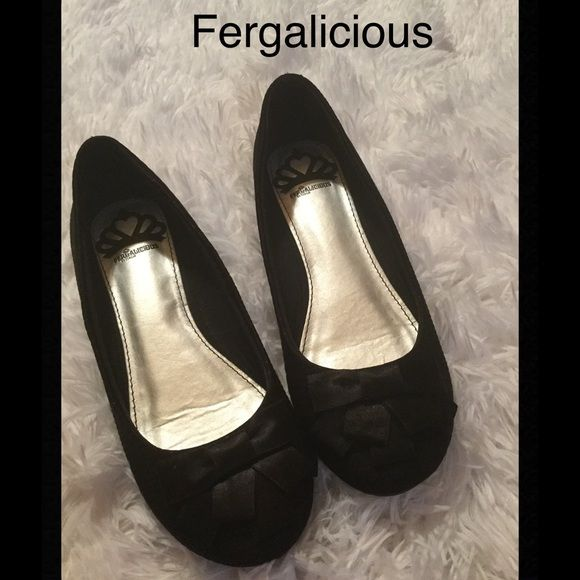 FERGALICIOUS flats Really cute flats by FERGALICIOUS, suede with bows on toes Fergalicious Shoes Flats & Loafers
