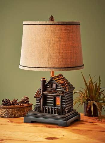 Marvelous 5250307701: Log Cabin Table Lamp With Woven Burlap Shade 4 Way Switch