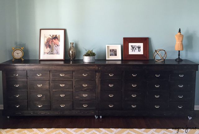 DIY IKEA Shelves Turned Into A Apothecary Style Dining Room Dresser