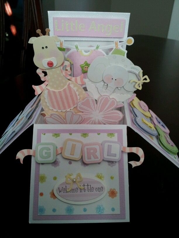 Card in a box for new baby girl