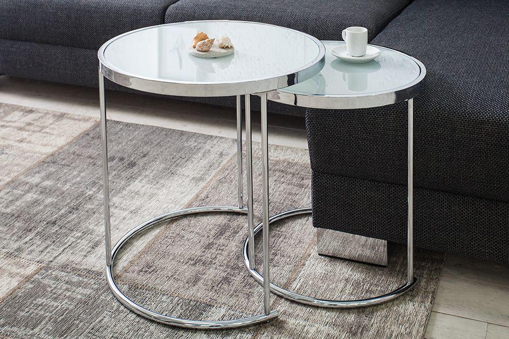Design Couchtisch Art Deco Ii 50cm 2er Set Chrom Opal Weiss Beistelltisch Riess Ambiente De Beistelltisch Beistelltisch Weiss Couchtisch