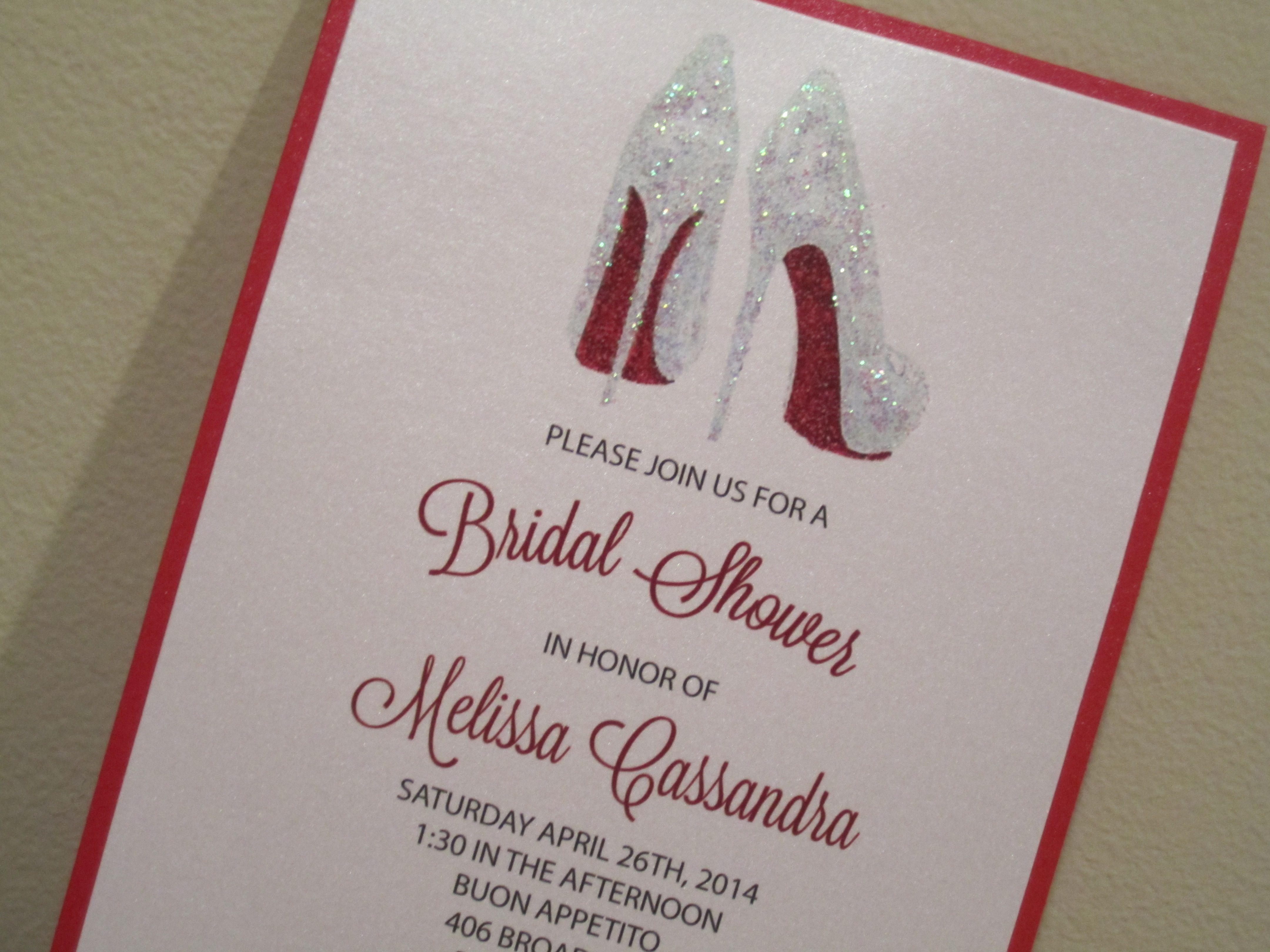 Bridal shower invitation shoe shower christian louboutin bridal shower invitation shoe shower christian louboutin inspired custom made at place of events filmwisefo Images