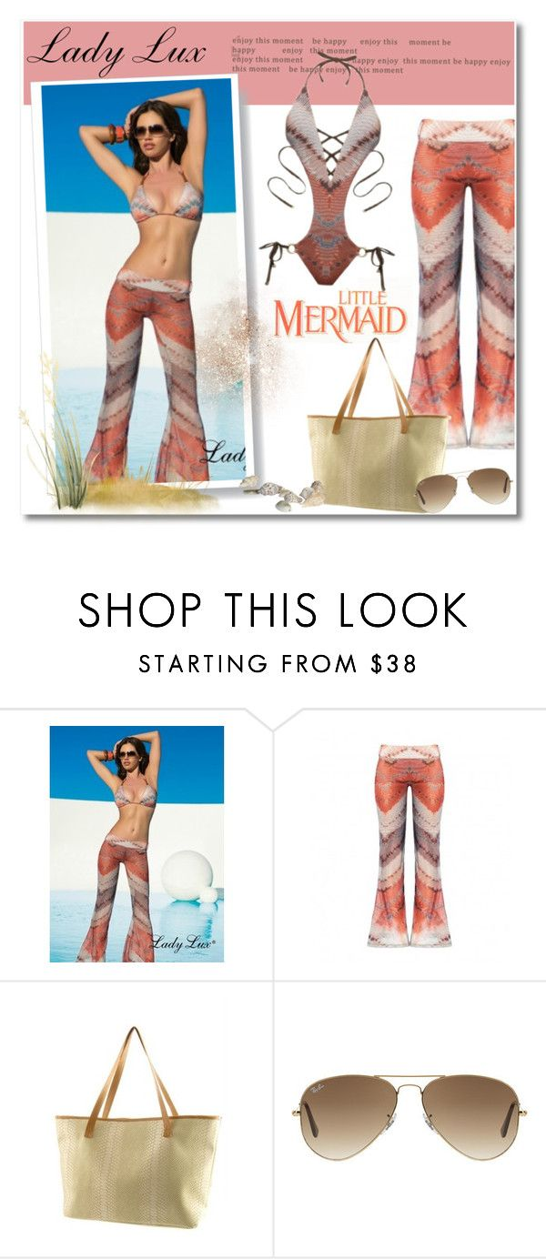 """""""Mermaid with LadyLuxSwimwear"""" by ladyluxswimwear ❤ liked on Polyvore featuring Ray-Ban"""