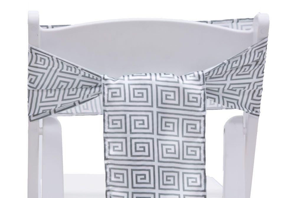 Greek Key Satin Chair Sash Tie Gray Clearance