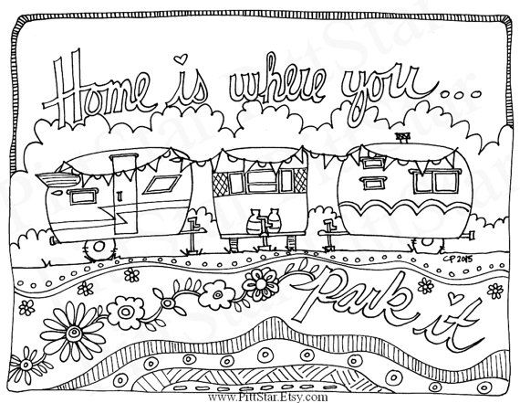 Instant Download Whimsical Travel Trailer Adult Printable