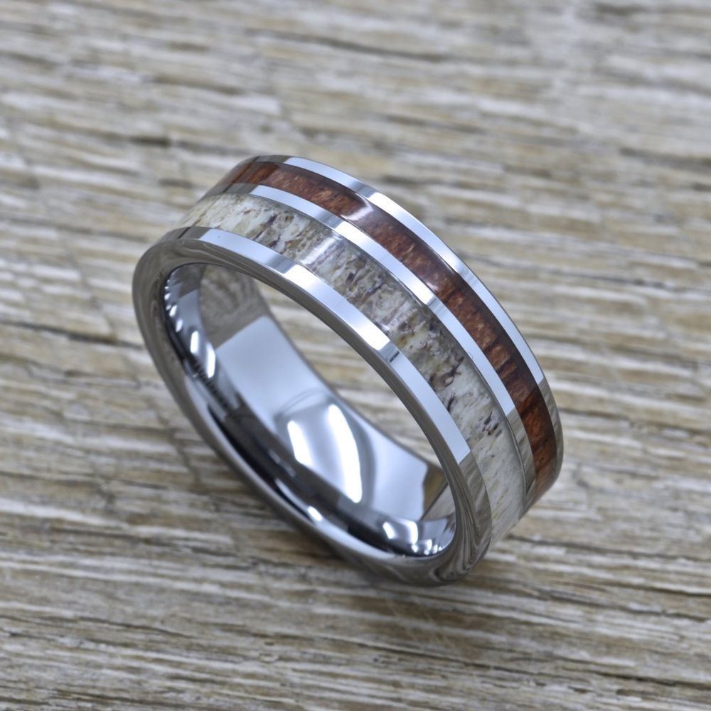Deer Antler Titanium Wedding Band with Hawaiian Koa Wood Inlay 8mm