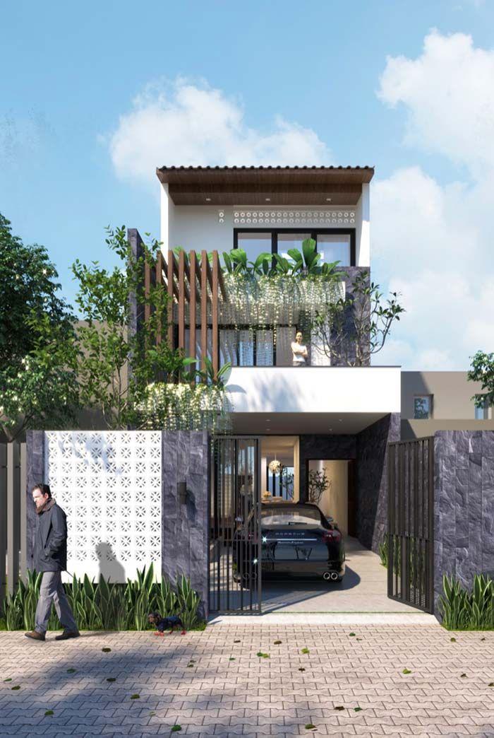 Modelo de casa de 3 andares com varandas fachadas em 2019 for Modelos de casas procrear clasica