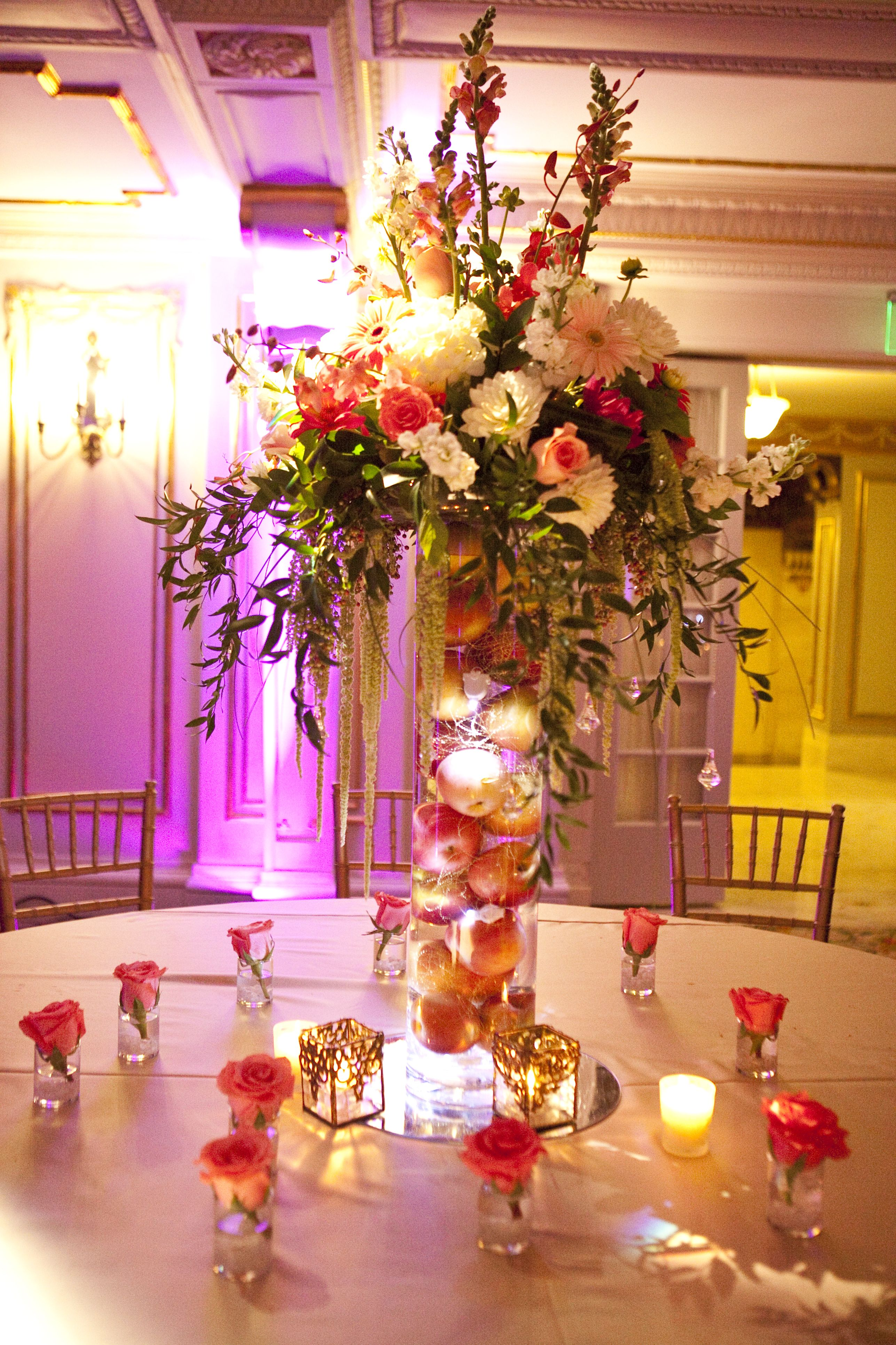 Wedding table centerpiece in the marie antoinette ballroom