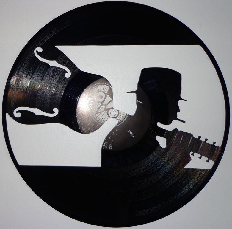 Handmade vinyl record art blues man by cb375 muziek for Vinyl record craft projects