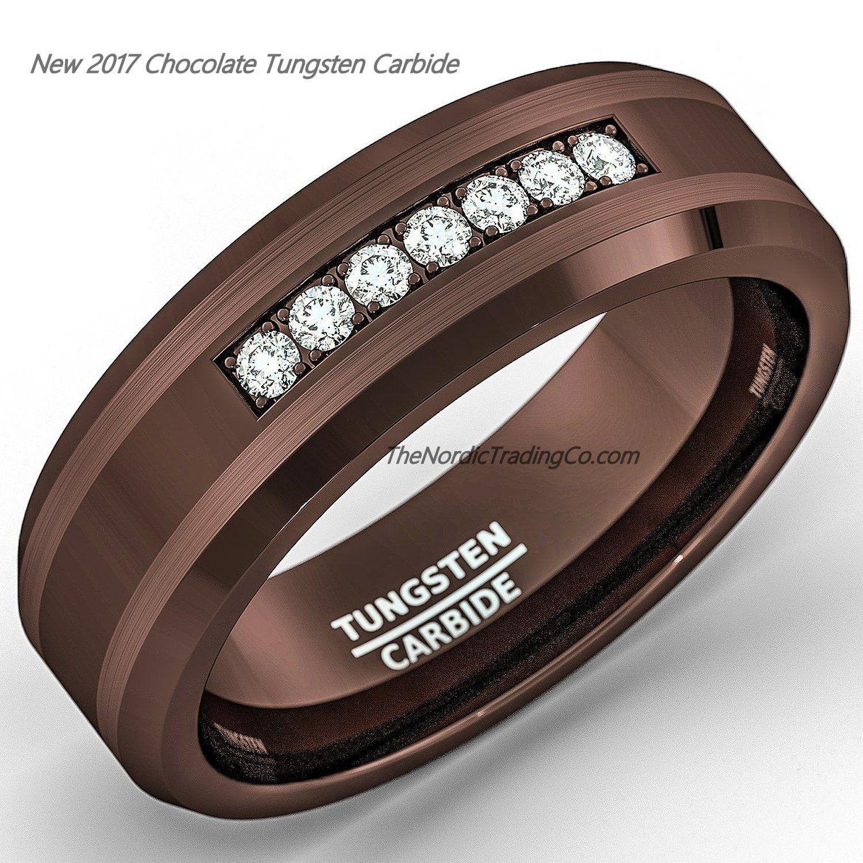 Chocolate Brown Tungsten Carbide Men S Wedding Band Engagement