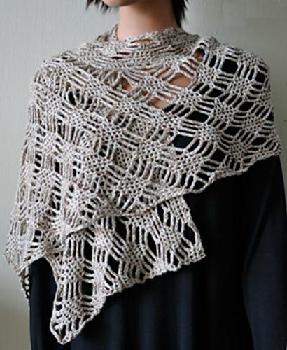 The free crochet Panda Pearl Spider Lattice Stole by Cathy Campbell would be amazing in the soft Stone Soup DK. You'd need two skeins.