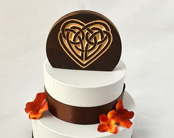 Celtic Knot Heart Wedding Cake Topper, burned wood natural cake ...