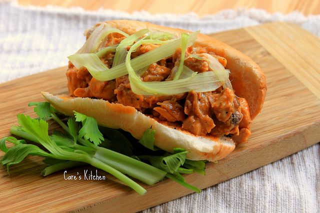 Buffalo Chicken Sandwich with Smoked Gouda and Blue Cheese