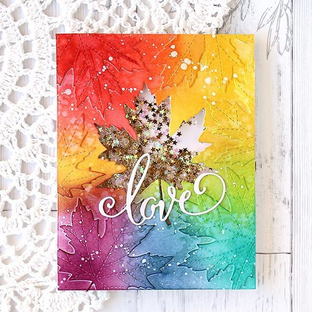 Isn't this @poppystamps maple leaf die so pretty?! It is one of the new winter holiday products! 👍👍👍 #poppystamps #maple #mapleleaf #shaker #papercraft #cardmaking #stamping #handmade #card #rainbow #blending #shakercard #love #카드메이킹 #카드 #핸드메이드 #무지개 #단풍 #prettypinkposh #starconfetti