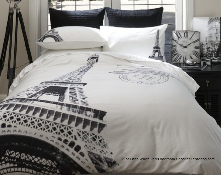 Modern black and white paris bedroom decor bedding for for Paris themed bedroom designs