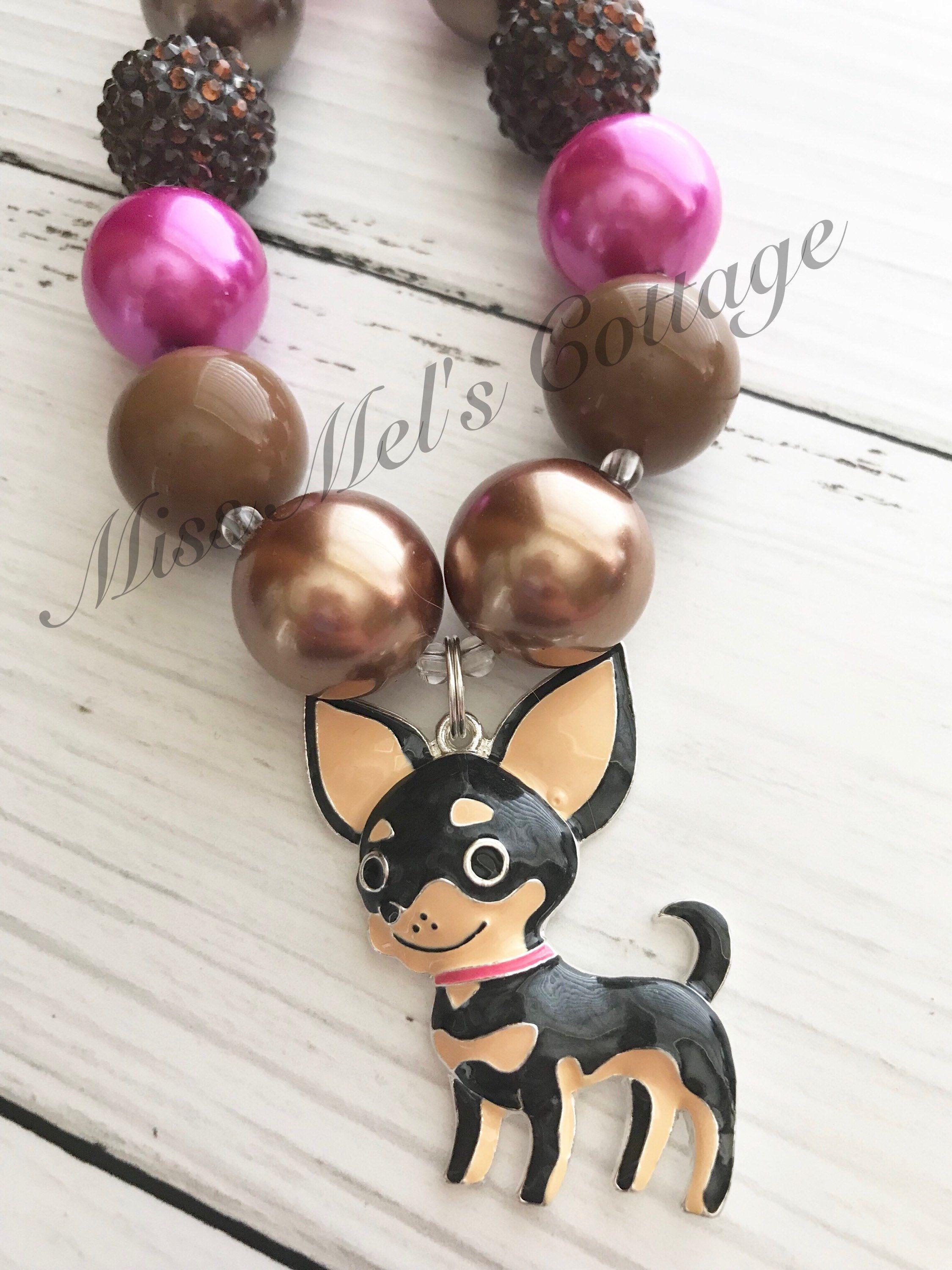 Playful little chihuahua puppy dog chunky bubblegum beads necklace