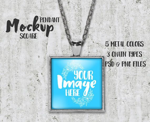 Square pendant with glass cabochon Mockup | Add your own