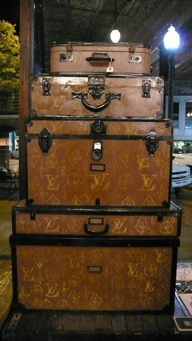 Vintage suitcases/trunks painted to look like vintage Louis Vuitton,, i love it whether its real or not